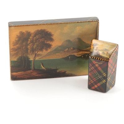 Scottish Mauchline Tartan Ware Macbeth Needle Box and Campbell Calling Card Case
