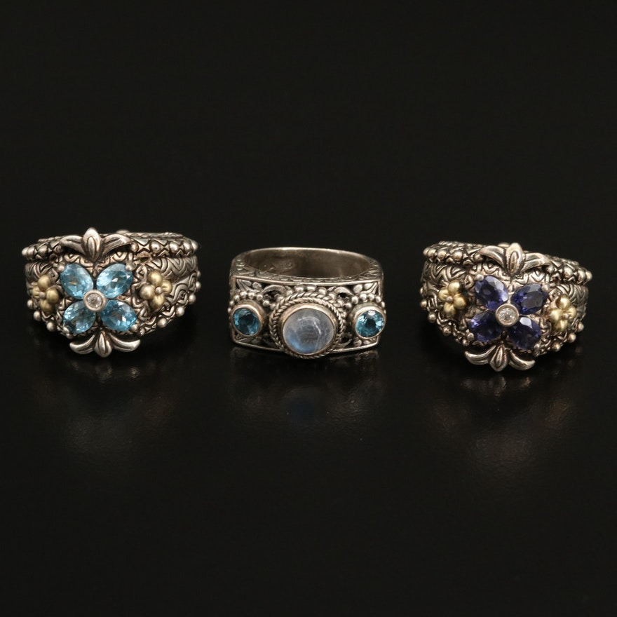Barbara Bixby and Sarda Sterling Moonstone, Topaz and Iolite Rings