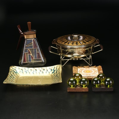 Mid Century Modern Glassware with Carafe, Casserole Dish, Candlesticks and More