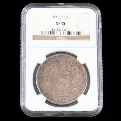 NGC Graded XF45 Toned Better Date 1890-CC Morgan Silver Dollar