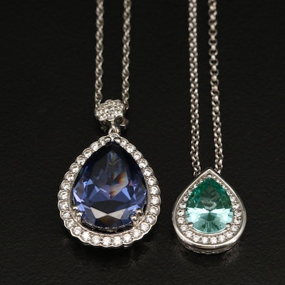 Sterling Spinel and Cubic Zirconia Pendant Necklaces