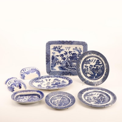 Staffordshire, and Other Blue Willow Platters and Wall Hangings