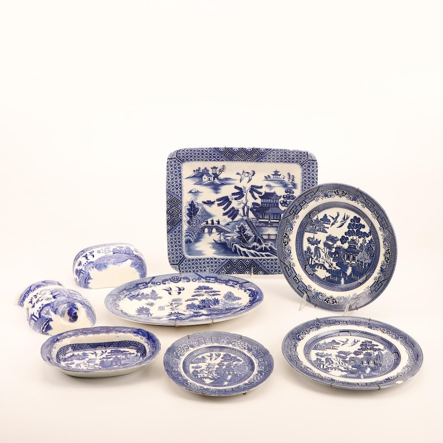 Staffordshire, and Other Blue Willow Platters and Lavabo