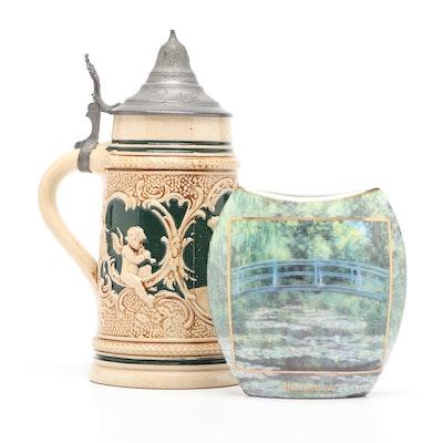 """Goebel """"Claude Monet"""" Vase and Ceramic Beer Stein"""