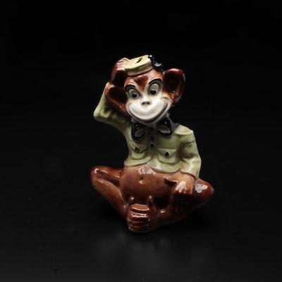 Ceramic Chimpanzee Coin Bank, Mid-20th Century