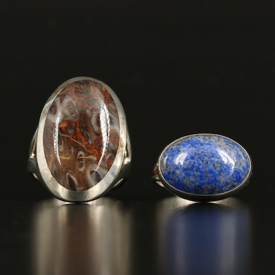 Sterling Agate and Lapis Lazuli Bezel Set Rings