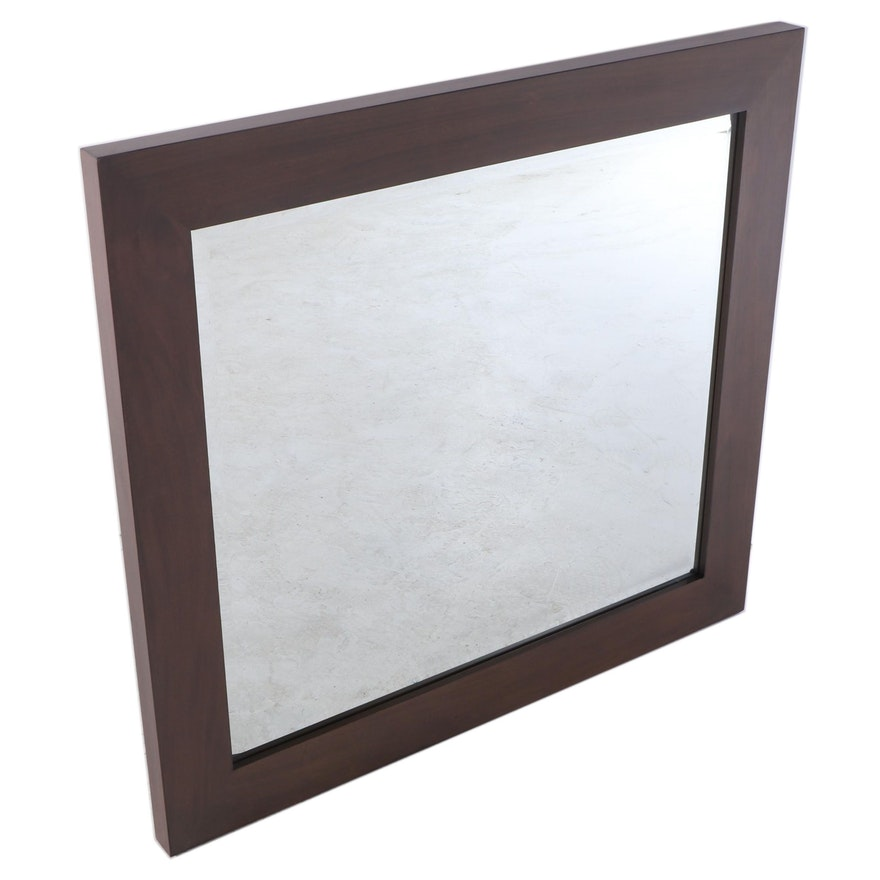 """36"""" Mahogany Bathroom Vanity Mirror in Gray Wash"""