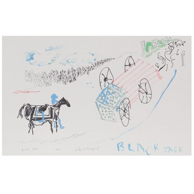 "Philip the Transplant Mixed Media Painting ""Black Jack,"" 2021"