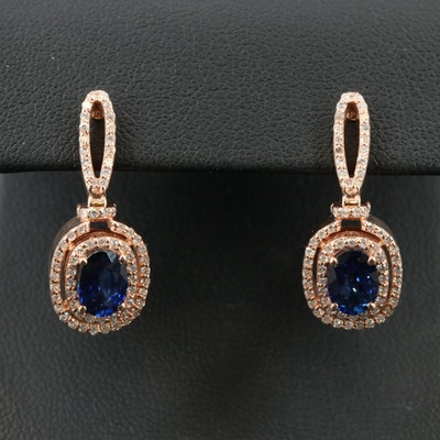14K ROSE GOLD DIAMOND, NATURAL DIFFUSED CEYLON SAPPHIRE EARRINGS