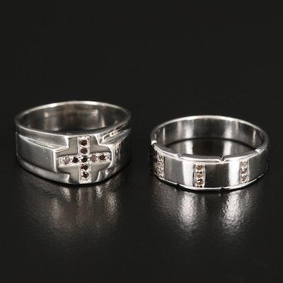 Sterling Diamond Cross and Triple Row Rings