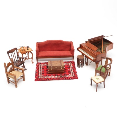 Miniature Wooden Dollhouse Furniture and Grand Piano