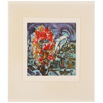 """Color Lithograph After Marc Chagall """"Le bouquet et le village bleu"""""""