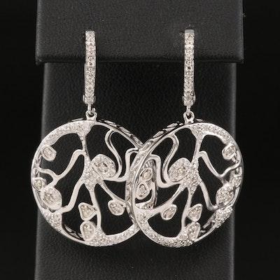 Sterling Silver Diamond Openwork Earrings
