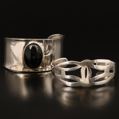 Mexican Sterling Black Onyx and Openwork Cuffs