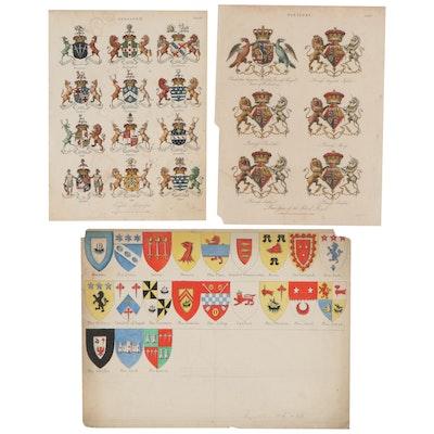 Engravings and Ink Drawing of British Coats of Arms, Circa 1808