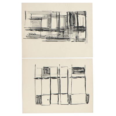 Betty Klavun Abstract Watercolor Paintings, Late 20th Century