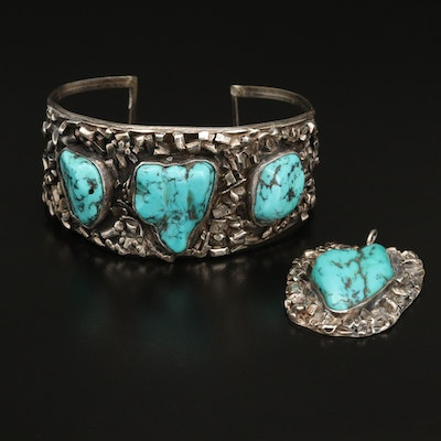 Textured Sterling Silver Turquoise Pendant and Cuff Set
