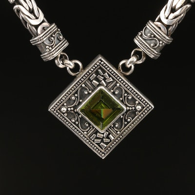 Sterling Glass Pendant with Byzantine Link Necklace
