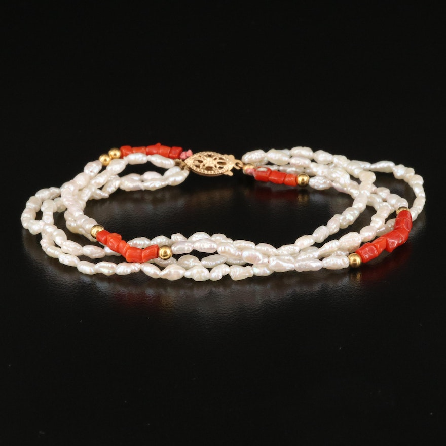 Pearl and Coral Multi-Strand Bracelet with 14K Clasp and Accent Beads