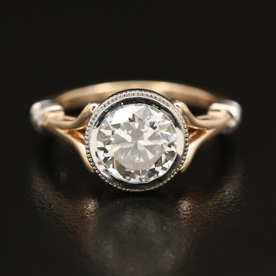 14K 1.85 CT Diamond Ring with Platinum Bezel and Accents