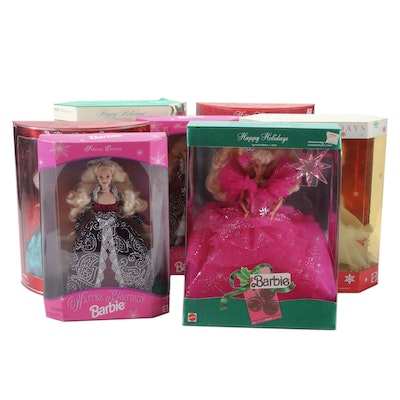 Seasonal Barbie Collection, Including 1989 Happy Holidays Barbie