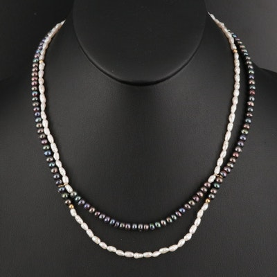 Pearl Double Strand Necklace with 14K Clasp and Accent Beads