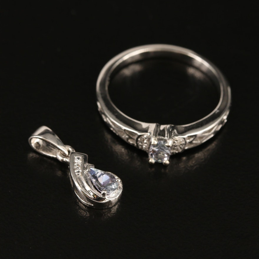 Sterling Tanzanite and White Zircon Ring and Pendant