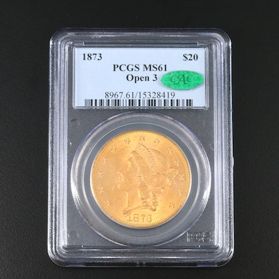 PCGS Graded MS61 w/CAC 1873 Liberty Head $20 Gold Double Eagle