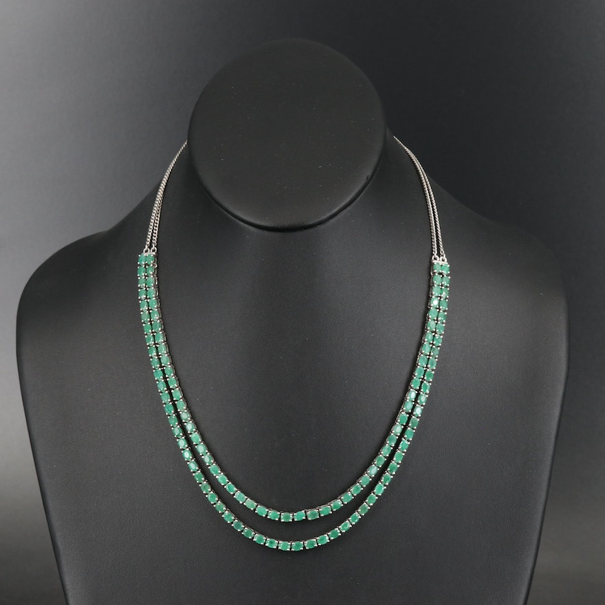 Sterling Emerald Double Strand Necklace