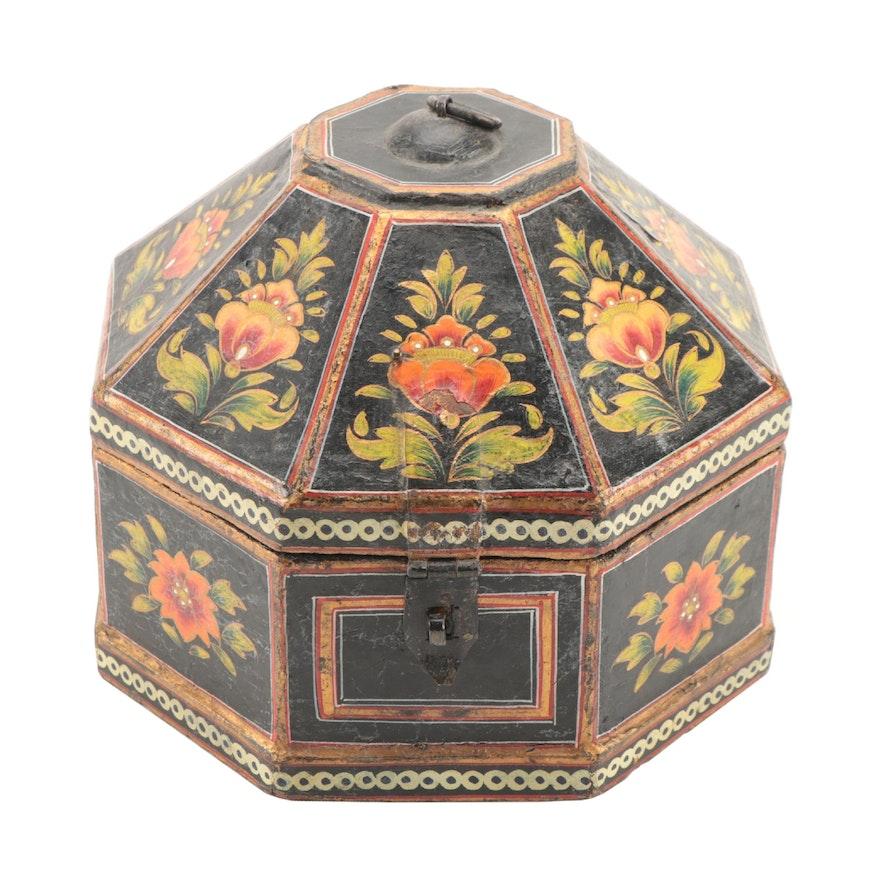 Hand-Painted Papier-Mâché Octagonal Box, 19th Century