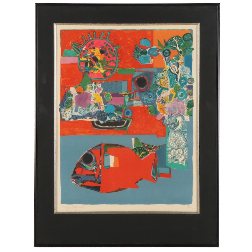 Roger Bezombes Abstract Color Lithograph, Mid-20th Century