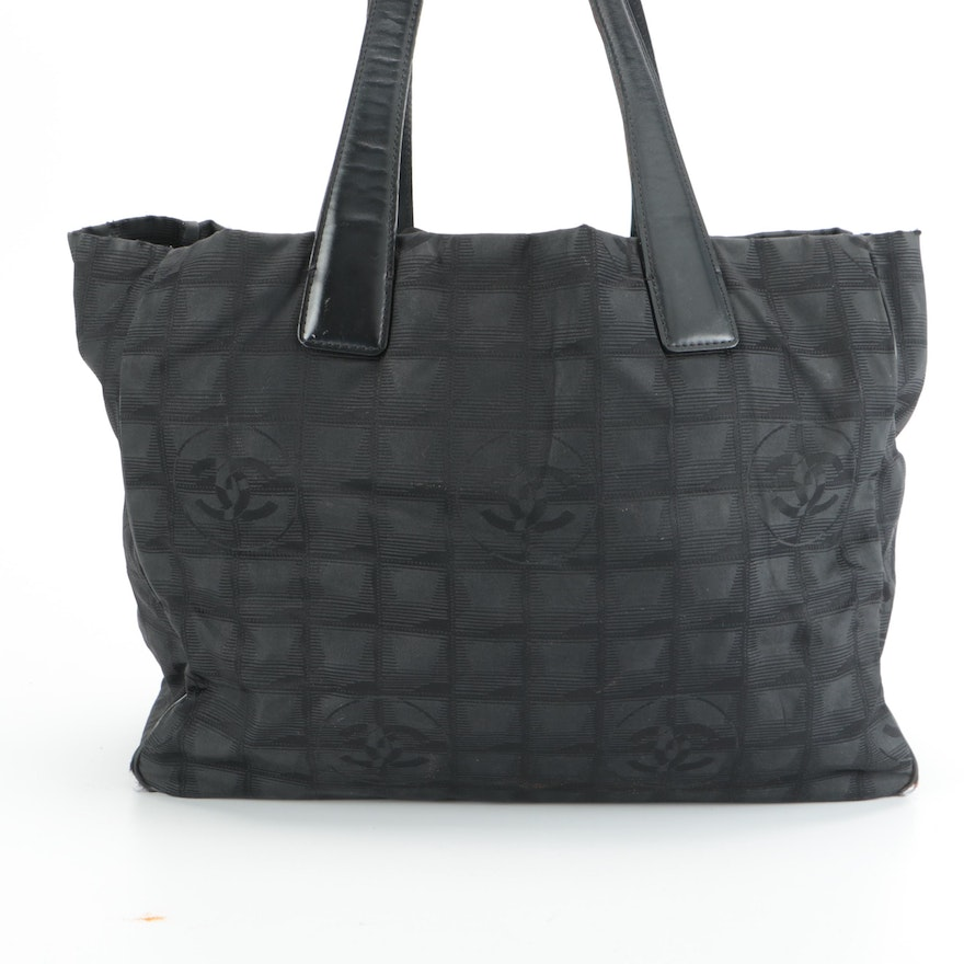 Chanel Travel Line Tote Bag in Black Nylon Jacquard and Leather