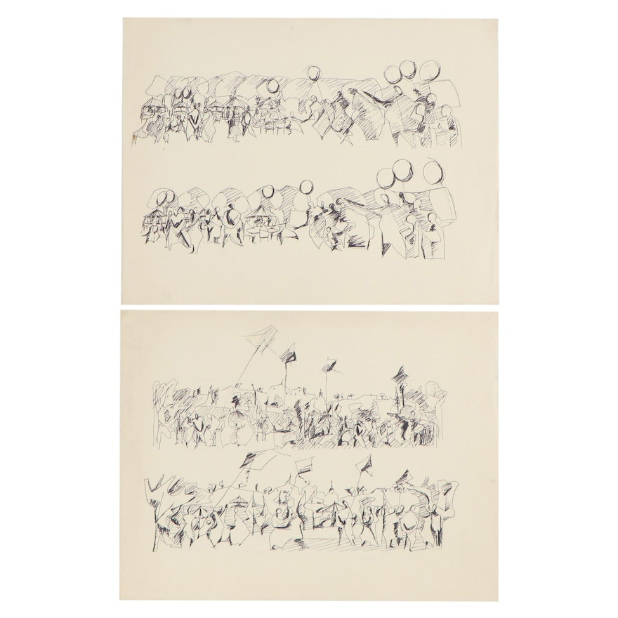Betty Klavun Figural Ink Drawings, Mid-Late 20th Century