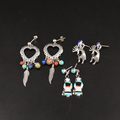 Southwestern Style Sterling Silver Coral and Gemstone Earrings