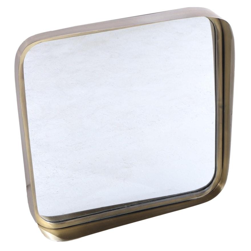 "20"" Square Bathroom Vanity Mirror in Antique Brass"