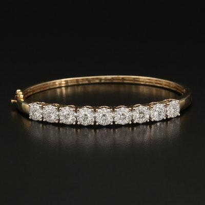 14K 3.10 CTW Diamond Hinged Bangle