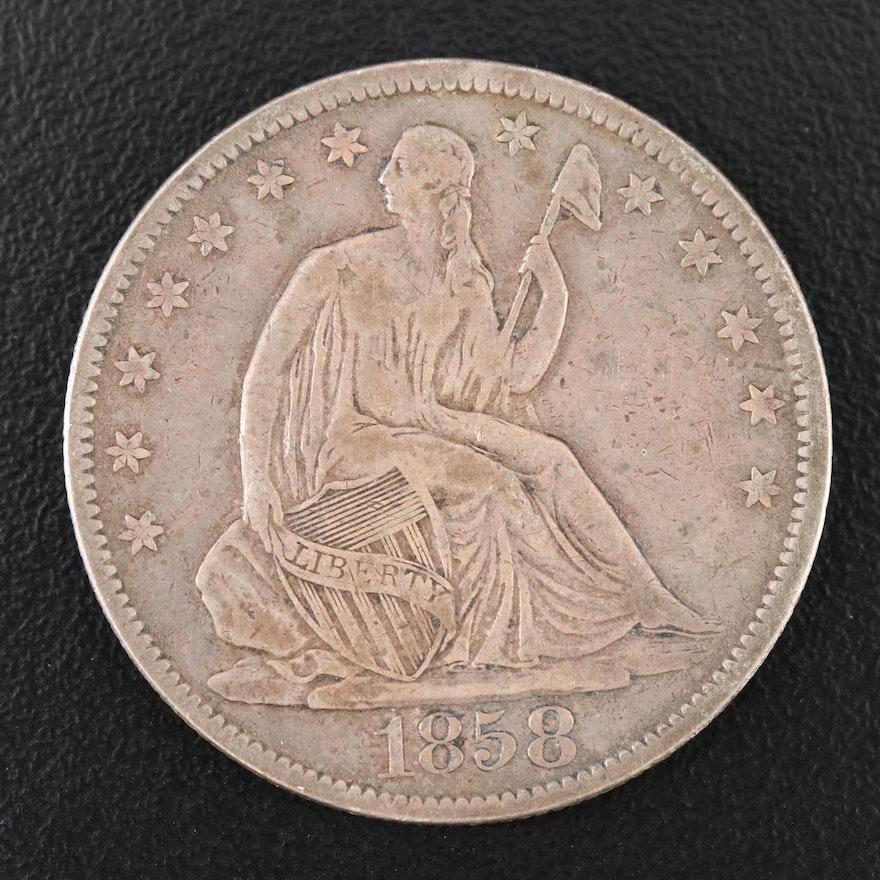1858-O Liberty Seated Silver Half Dollar
