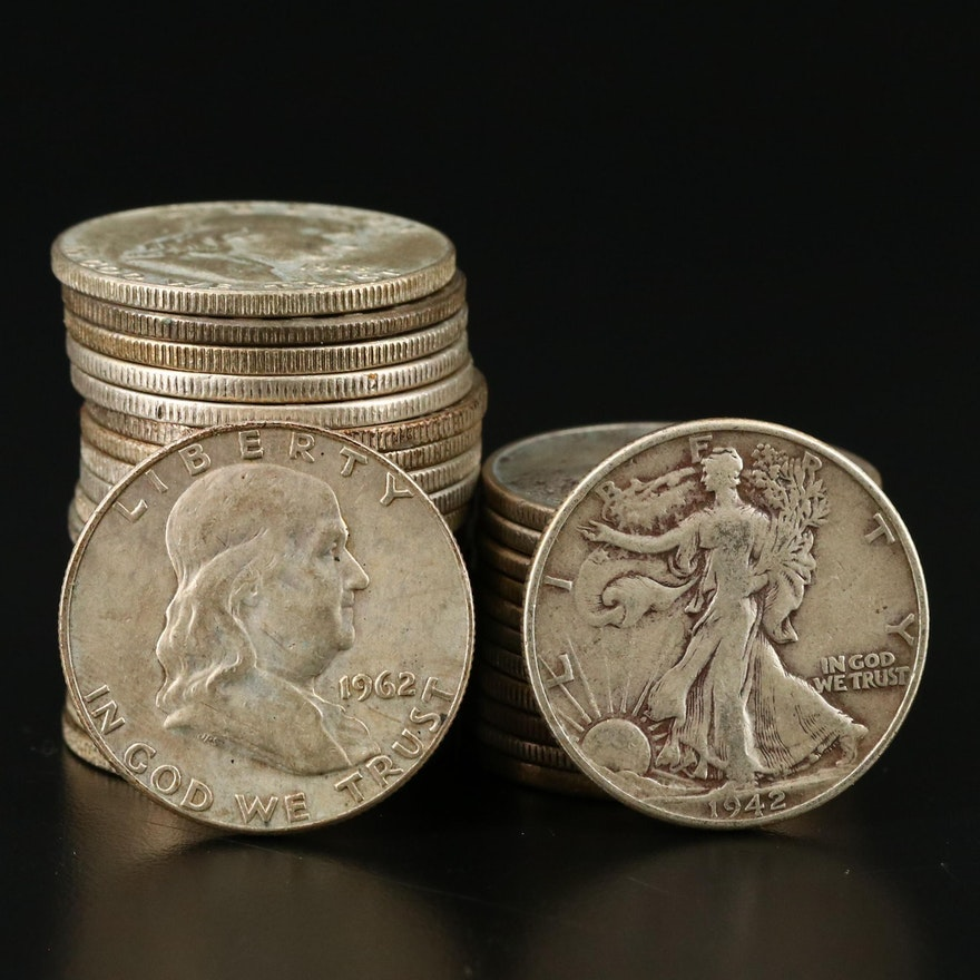 Walking Liberty and Franklin Silver Half Dollars