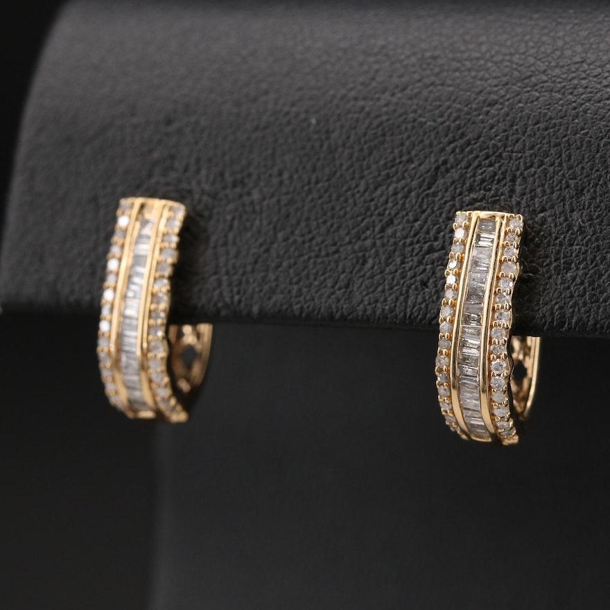 Sterling Diamond Half Hoop Earrings