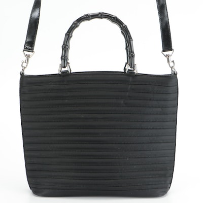 Gucci Black Nylon Two-Way Handbag with Bamboo Handle and Patent Leather Trim