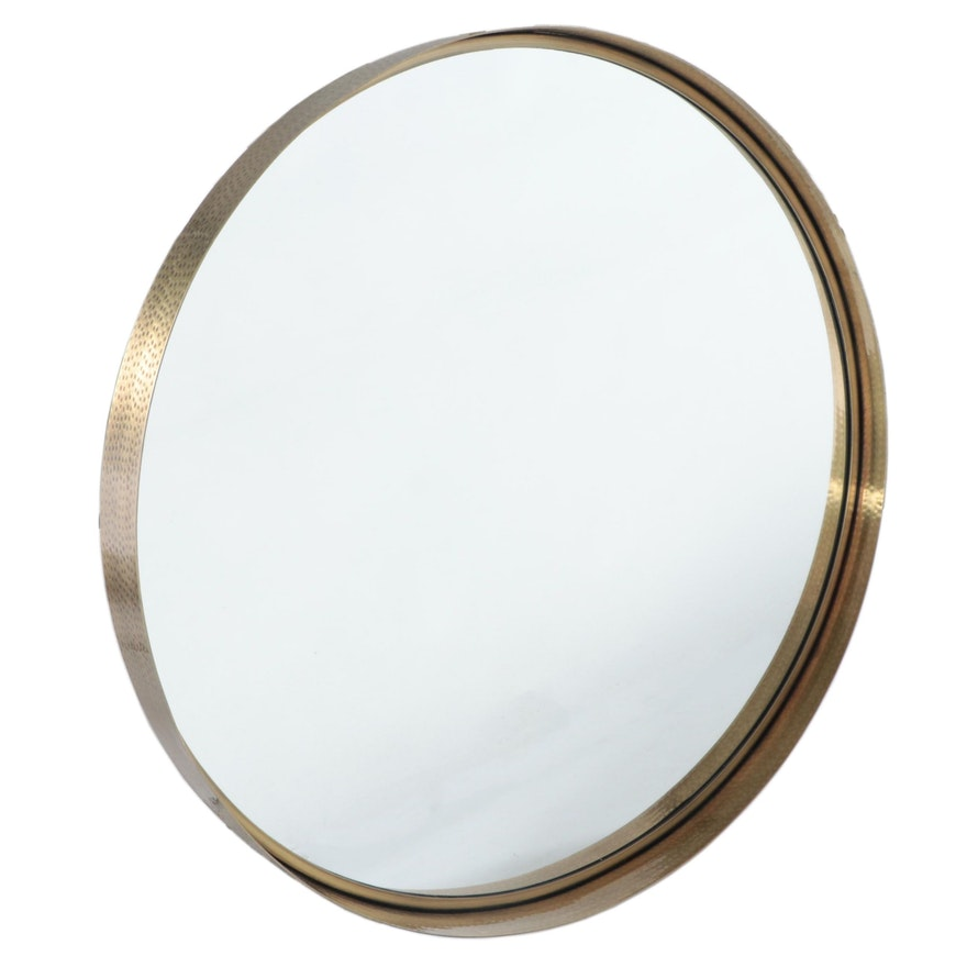 "30"" Round Bathroom Vanity Mirror in Hammered Antiqued Brass Tone"