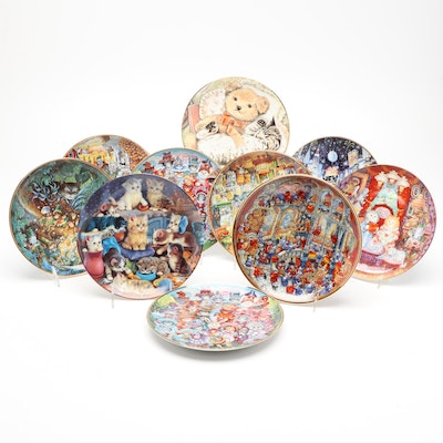 Franklin Mint Porcelain Plates Including Cats and Bears