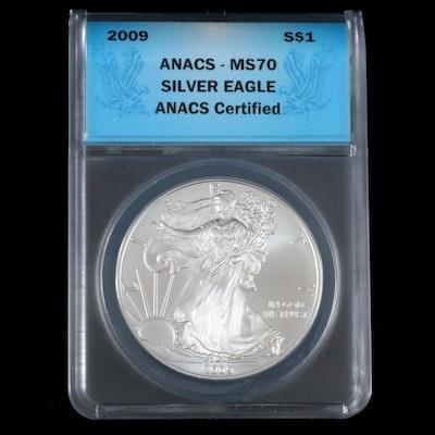ANACS Graded MS70 2009 .999 Fine American Silver Eagle Dollar