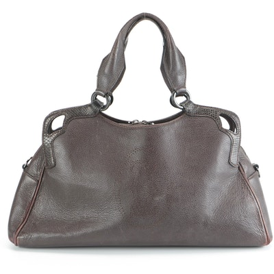 Cartier Marcello Dark Brown Grained Leather Shoulder Bag