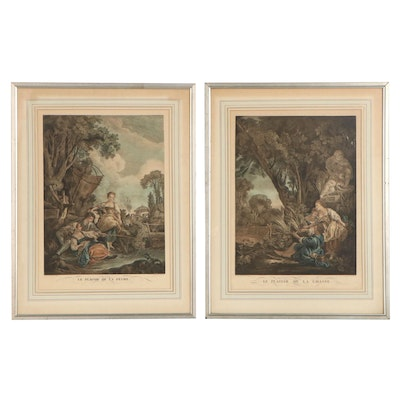Jacques Beauvarlet Hand-Colored Etchings and Engravings, Late 18th Century