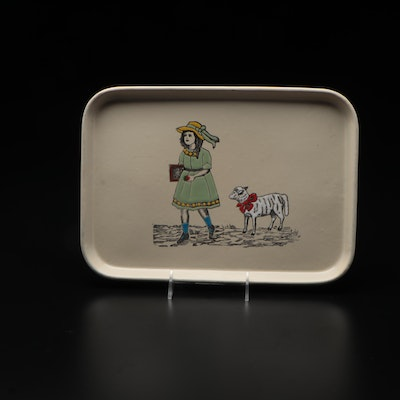 Enameled Metal Tray Decorated with Mary and Her Little Lamb, Made in Germany