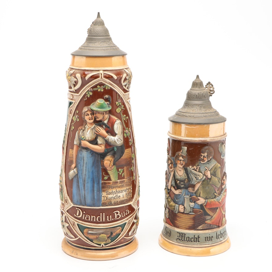 J.W. Remy And Other German Ceramic Beer Steins