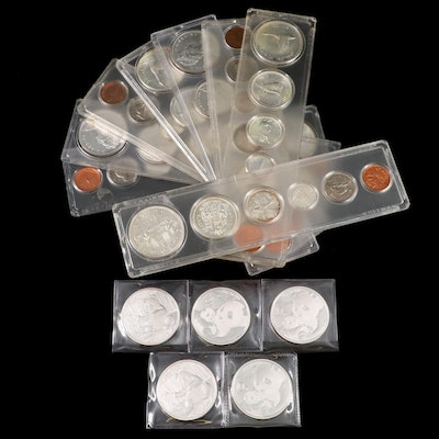 Eight Canadian Coin Sets and Five Chinese Silver Panda Coins