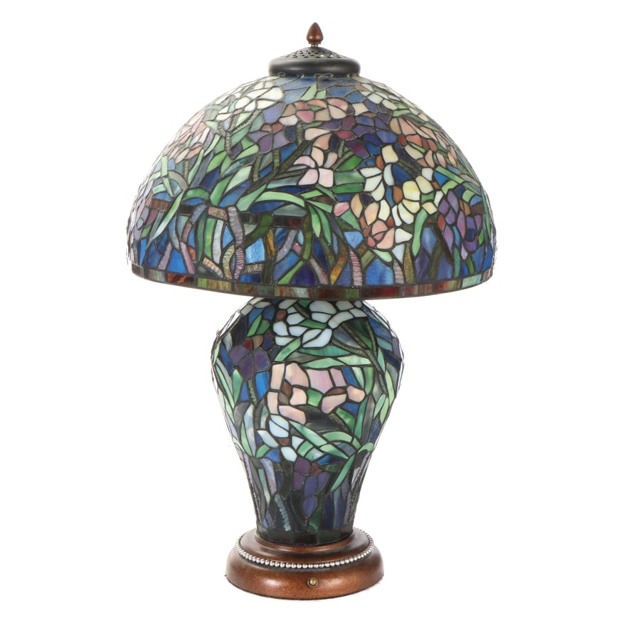 Stained and Slag Glass Mosaic Lamp and Shade