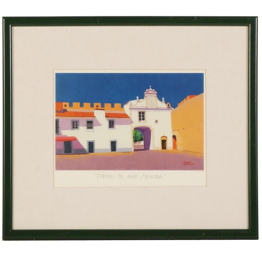"""Offset Lithograph After Duarte Botelho """"Portas de Aviz, Évora,"""" Circa 1993"""